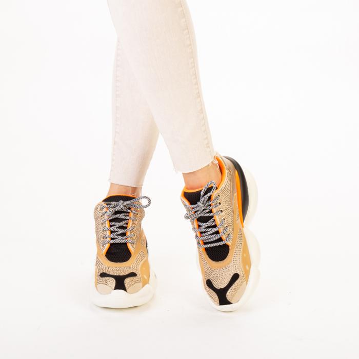 Pantofi sport dama Doreta bej multicolor 1