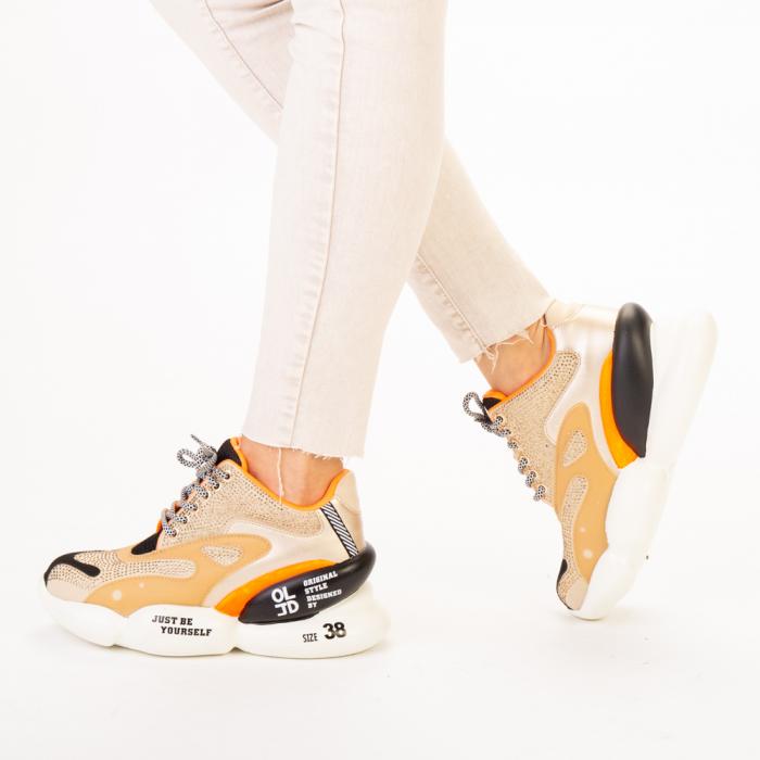 Pantofi sport dama Doreta bej multicolor 2