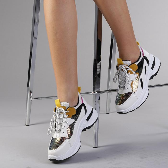Pantofi sport dama Eduarda albi 2