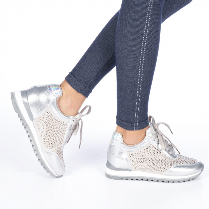 Pantofi sport dama Emillia argintii 0