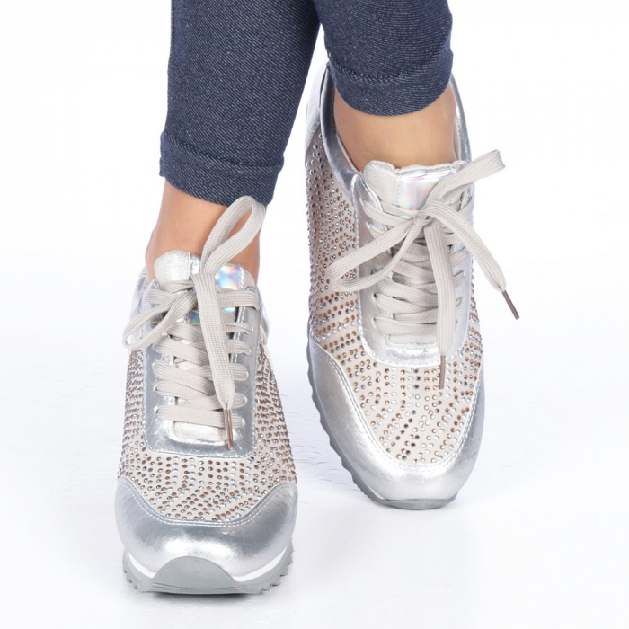 Pantofi sport dama Emillia argintii 3