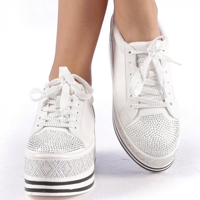 Pantofi sport dama Feodora albi 4