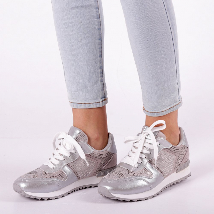 Pantofi sport dama Fleurette argintii 3