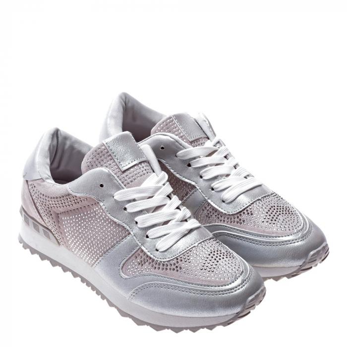 Pantofi sport dama Fleurette argintii 2