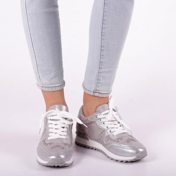 Pantofi sport dama Fleurette argintii 5