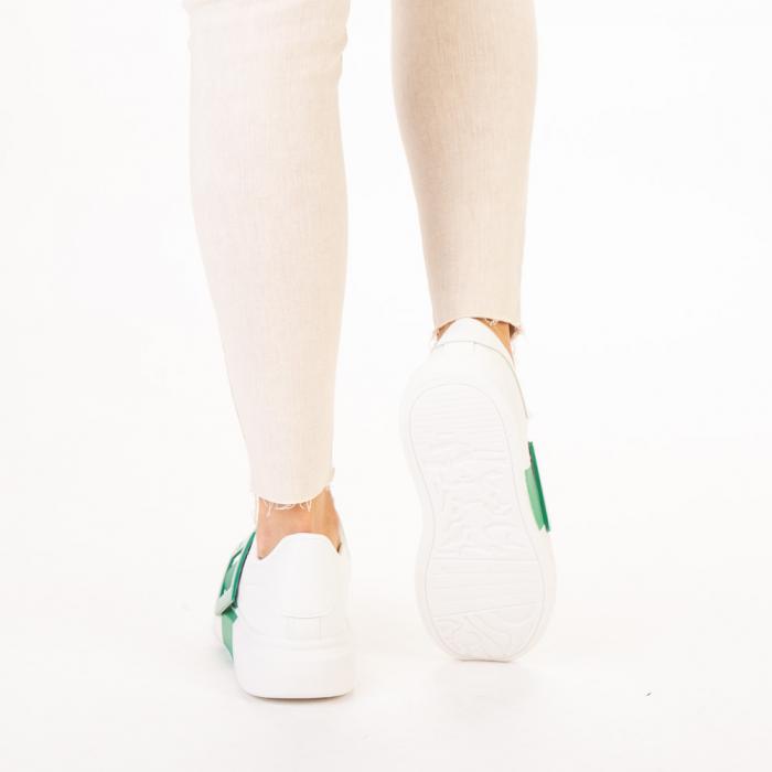 Pantofi sport dama Idona albi cu verde 3