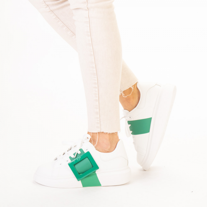 Pantofi sport dama Idona albi cu verde 2