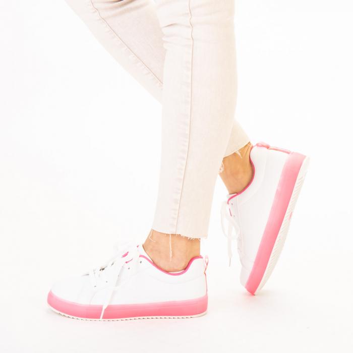 Pantofi sport dama Luela albi cu fucsia 2