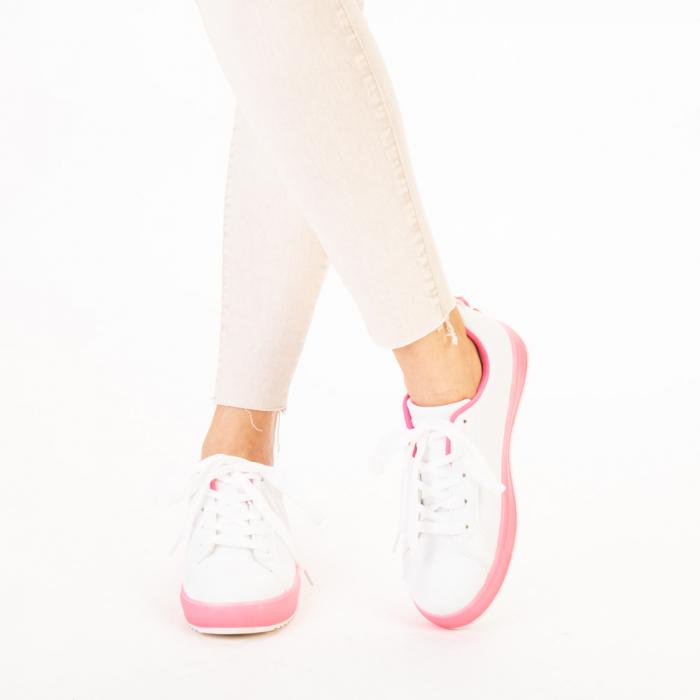 Pantofi sport dama Luela albi cu fucsia 1