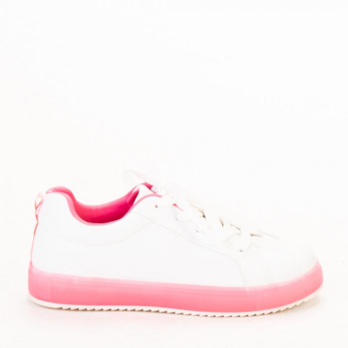 Pantofi sport dama Luela albi cu fucsia 0