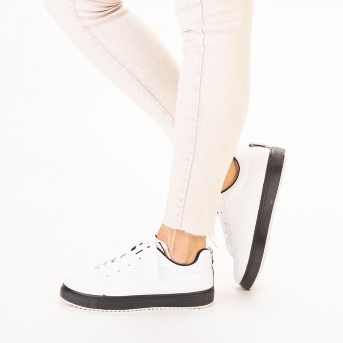 Pantofi sport dama Luela albi cu negru 2