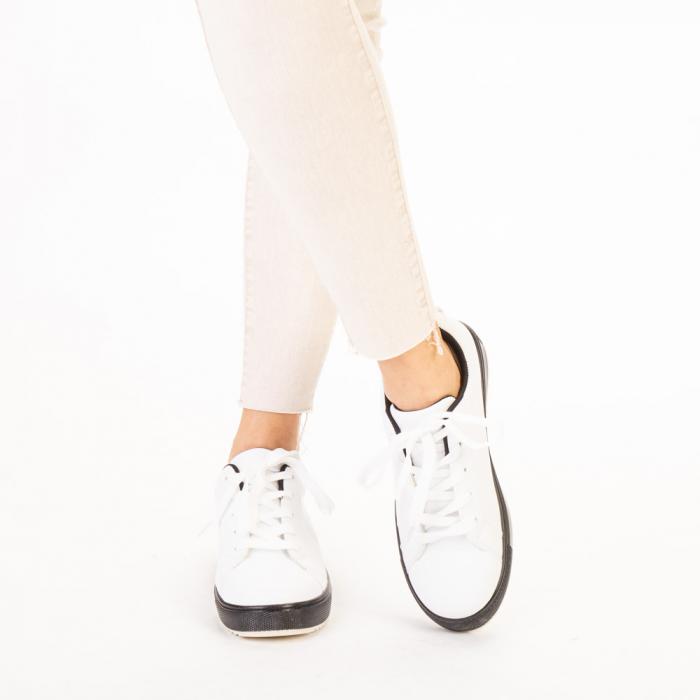 Pantofi sport dama Luela albi cu negru 1