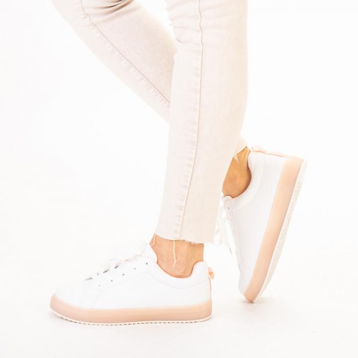 Pantofi sport dama Luela albi cu roz 2