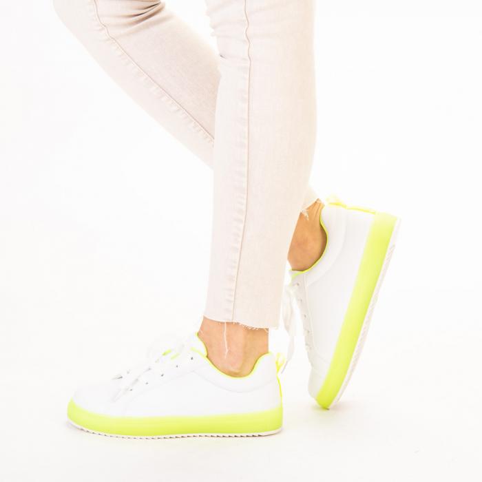 Pantofi sport dama Luela albi cu verde 2