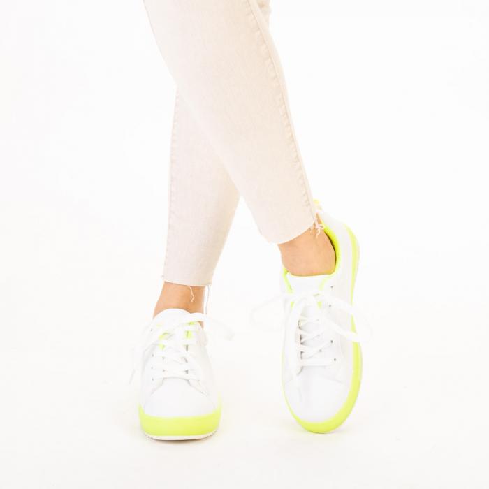Pantofi sport dama Luela albi cu verde 1