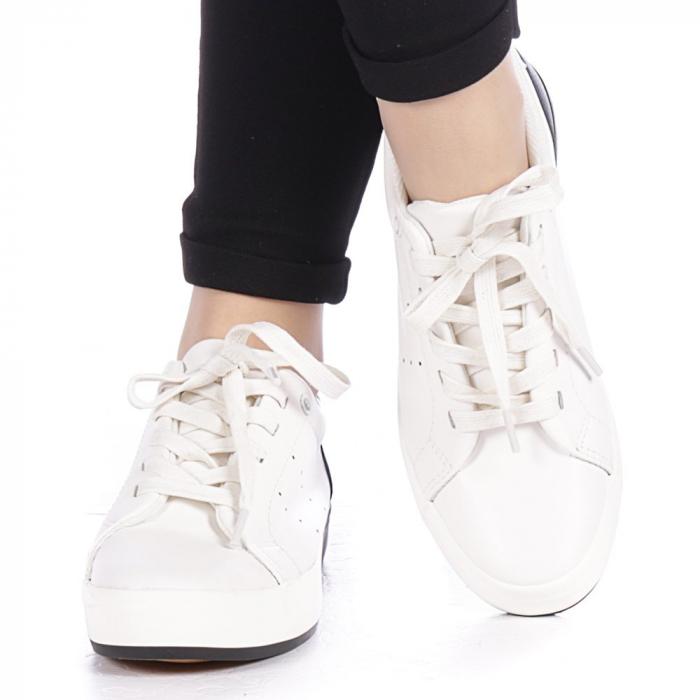 Pantofi sport dama Melgar albi cu negru 1