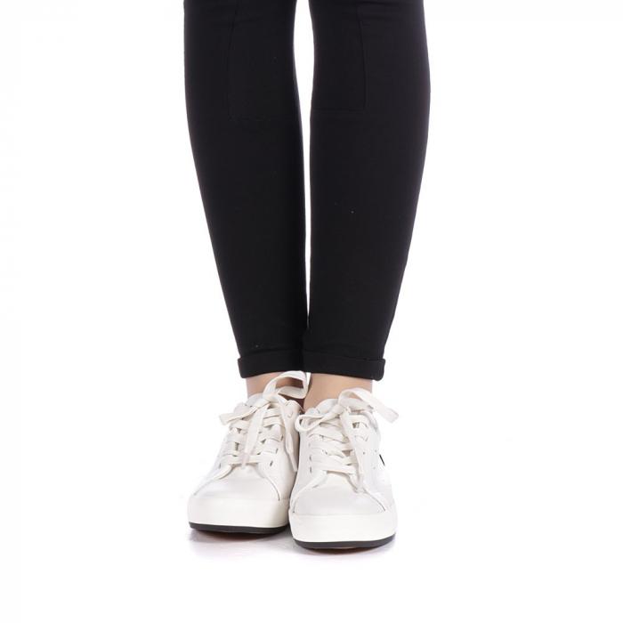 Pantofi sport dama Melgar albi cu negru 4
