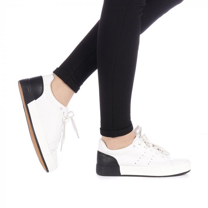 Pantofi sport dama Melgar albi cu negru 0