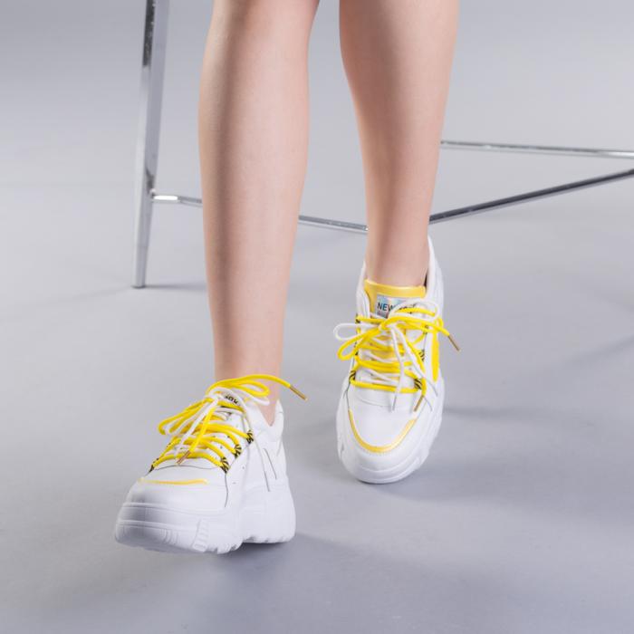 Pantofi sport dama Naomi albi 3