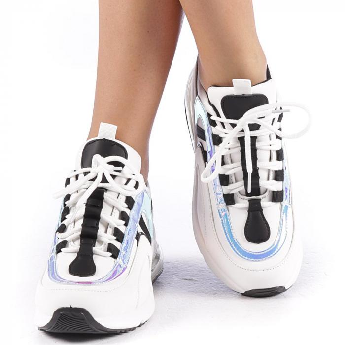 Pantofi sport dama Nikol albi 4