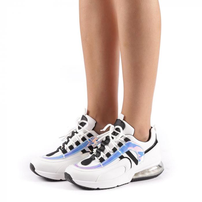 Pantofi sport dama Nikol albi 1
