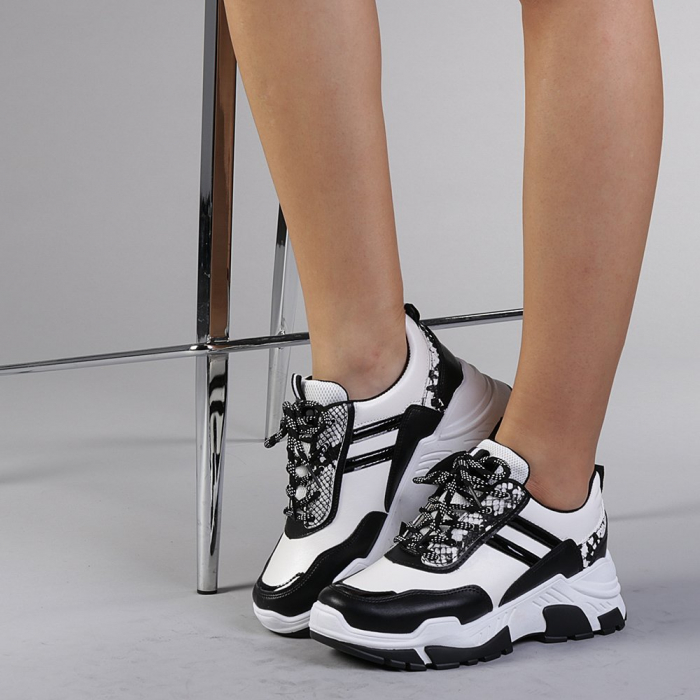 Pantofi sport dama Paolina albi 0