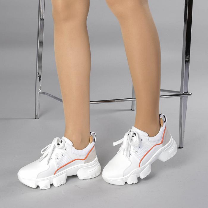 Pantofi sport dama Rane alb cu rosu 2
