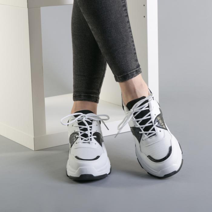 Pantofi sport dama Runy alb cu negru 3