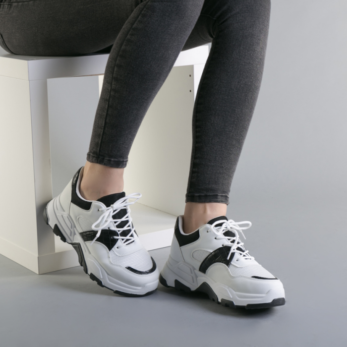 Pantofi sport dama Runy alb cu negru 1