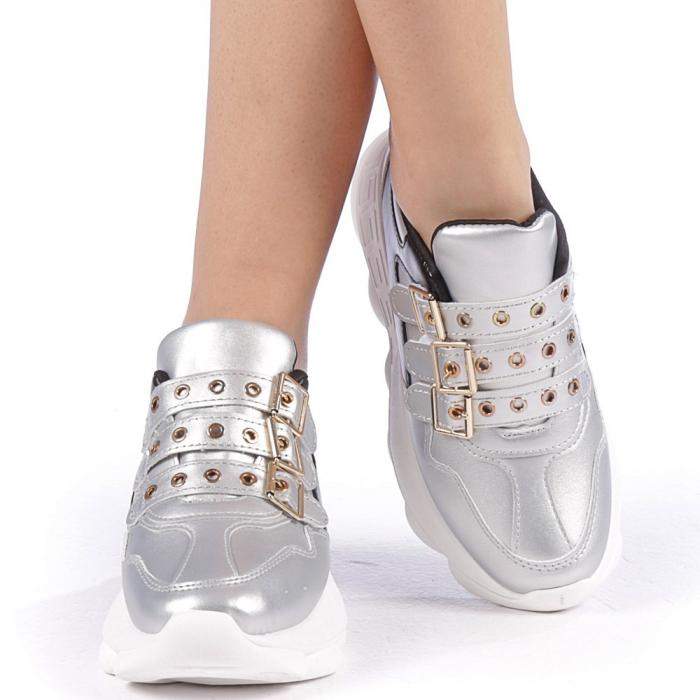 Pantofi sport dama Sandrina argintii 4