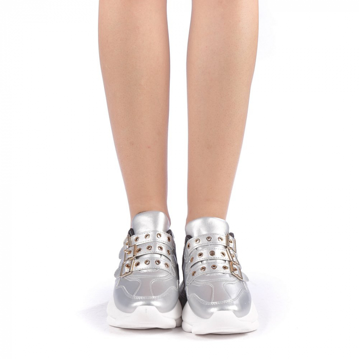Pantofi sport dama Sandrina argintii 3