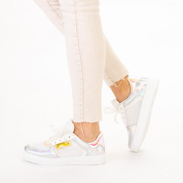 Pantofi sport dama Shena albi cu roz 2