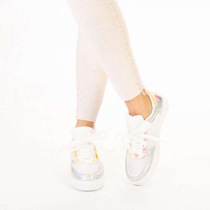 Pantofi sport dama Shena albi cu roz 1