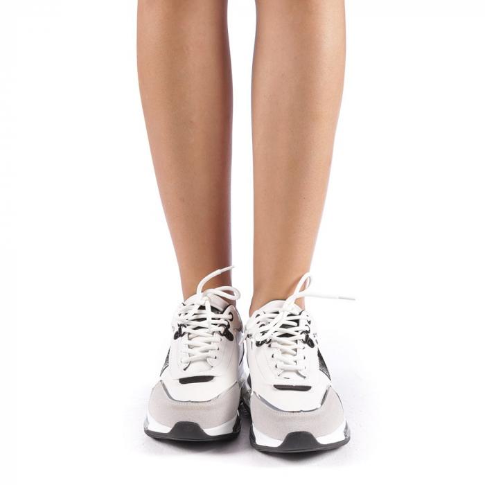 Pantofi sport dama Tamina alb cu negru 3