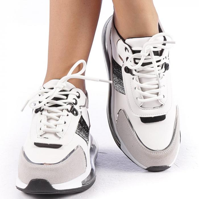 Pantofi sport dama Tamina alb cu negru 4