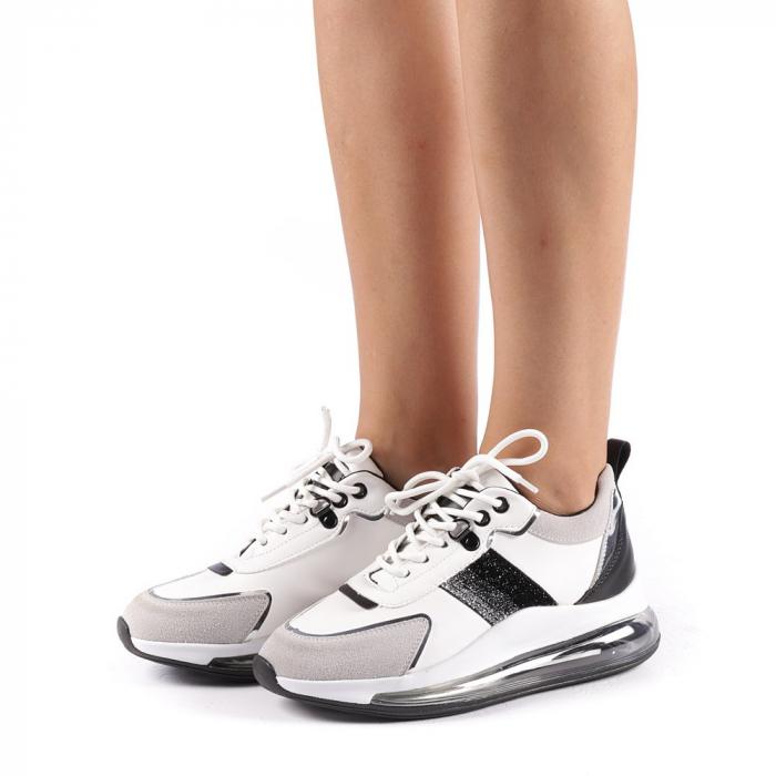 Pantofi sport dama Tamina alb cu negru 1
