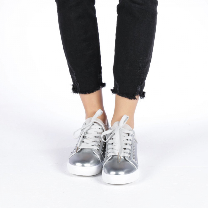 Pantofi sport dama Vera argintii 1
