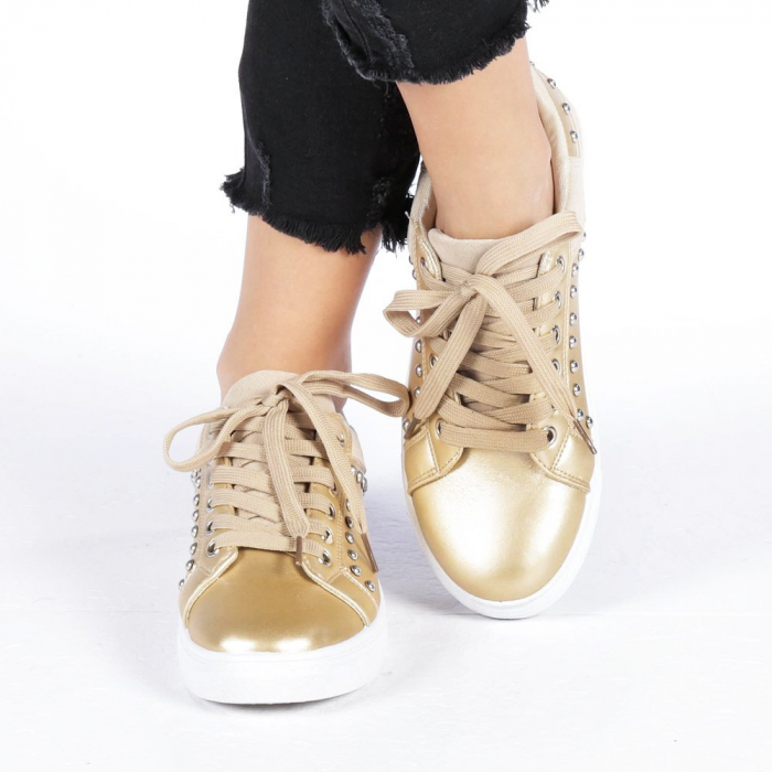 Pantofi sport dama Vera aurii 4