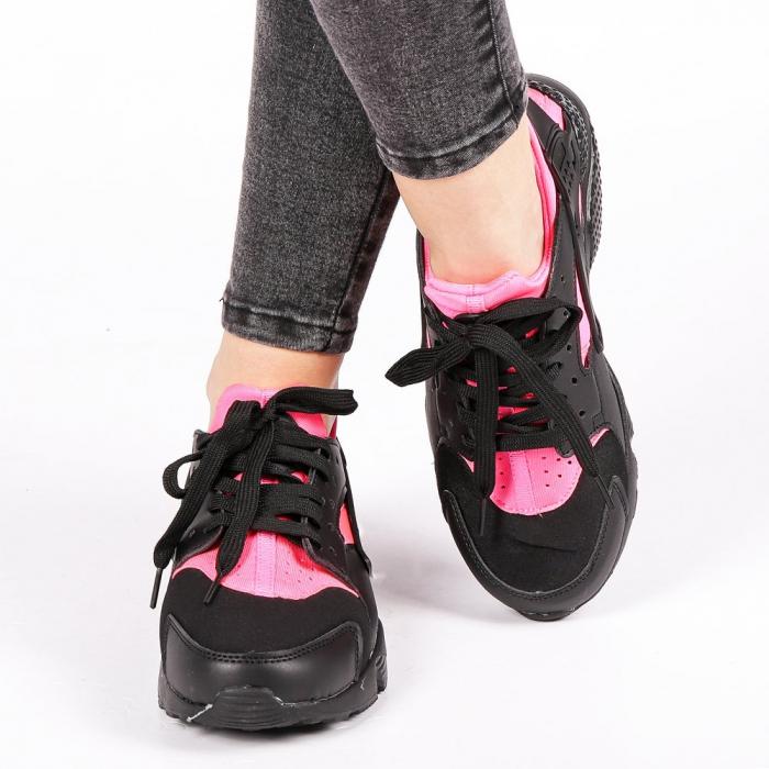 Pantofi sport dama Winifred negru cu roz 4