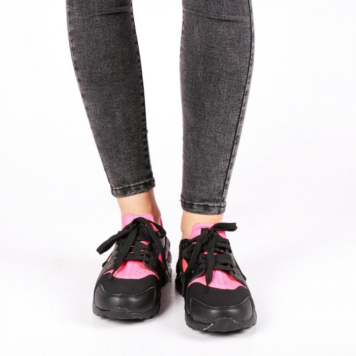 Pantofi sport dama Winifred negru cu roz 3