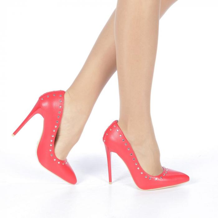 Pantofi stiletto Daiana rosii 0