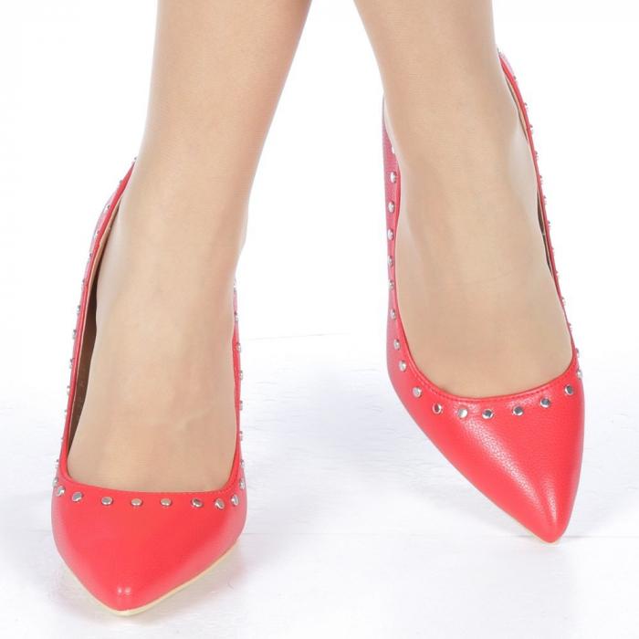 Pantofi stiletto Daiana rosii 1