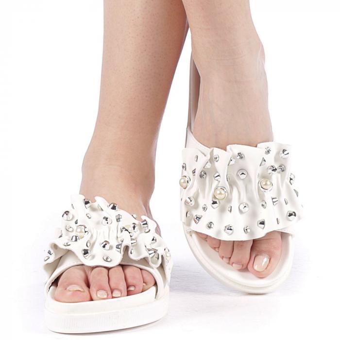 Papuci dama Cerine albi 1