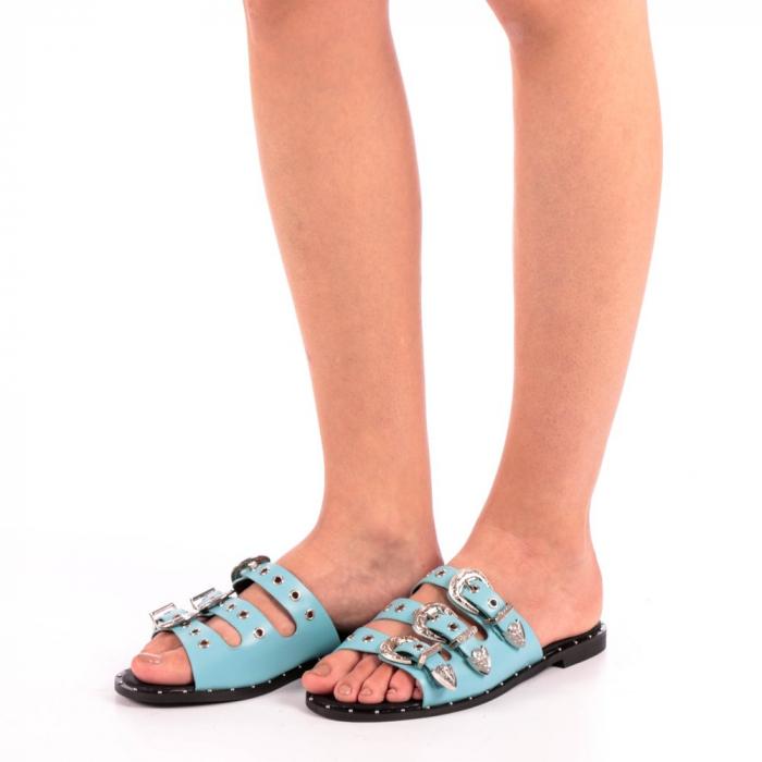 Papuci dama Edith albastri 1