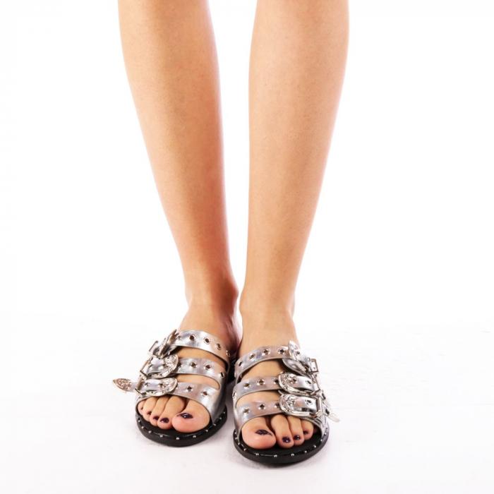 Papuci dama Edith argintii 3