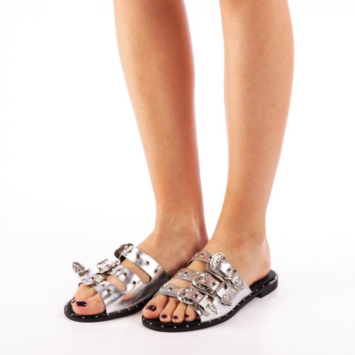 Papuci dama Edith argintii 1