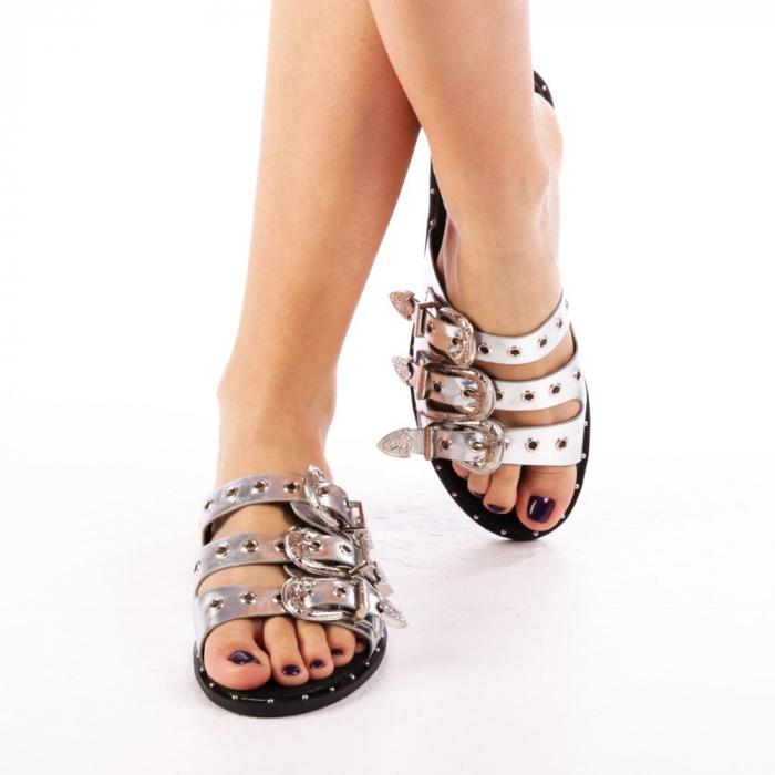 Papuci dama Edith argintii 4