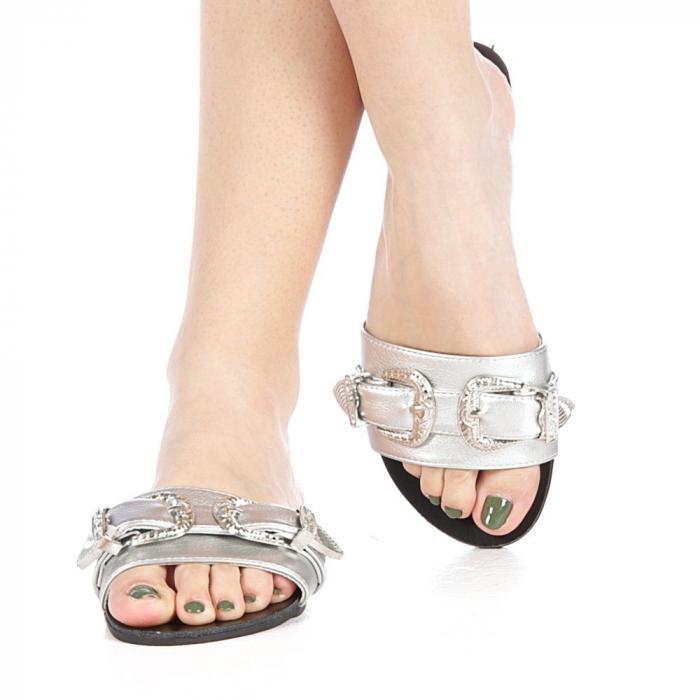 Papuci dama Guncan argintii 1