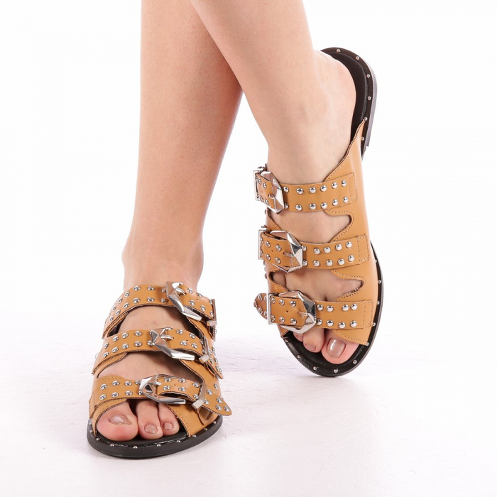 Papuci dama Luciana camel 3