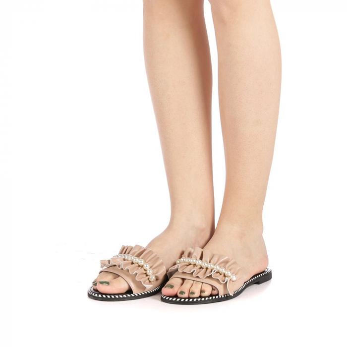 Papuci dama Milios bej 2